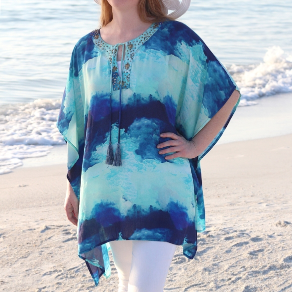 Watercolor Studded Poncho