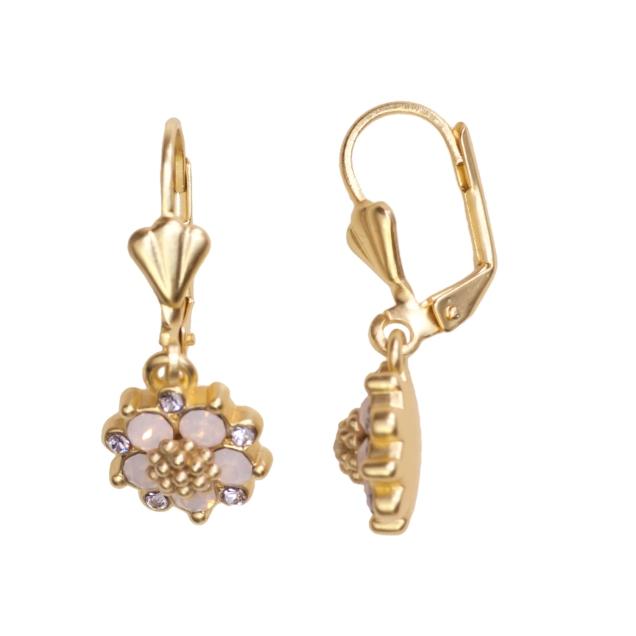 Swarovski Crystal Pink Flower Earring - 14K Gold