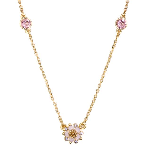 Swarovski Crystal Pink Flower Necklace - 14K Gold