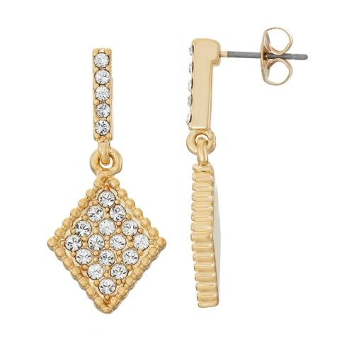 Swarovski Crystal Diamond Earring - 14K Gold