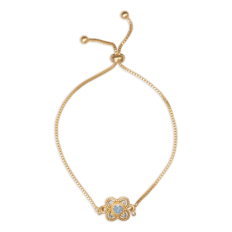 Swarovski Crystal Blue Star Drawstring Bracelet - 14K Gold