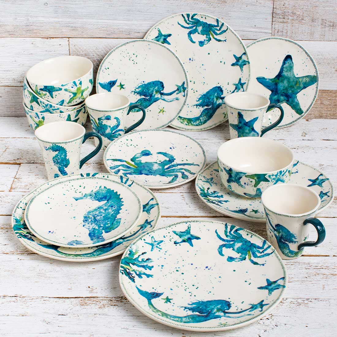 Stoneware 16-Piece Coastal Dinnerware Set